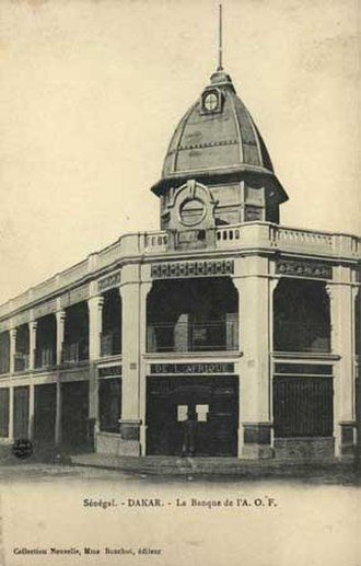 Bank of West Africa (BAO) - The edifice of The Banque de l'AOF central office in Dakar, Sénégal: c.1904.