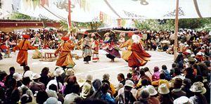 Tibetan festivals - Dancing at Sho Dun Festival, Norbulingka, 1993