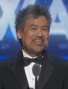 David Henry Hwang speaking at the 2019 Tony Awards