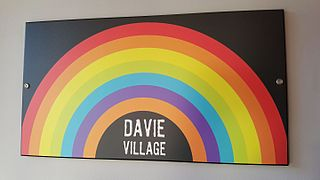 Davie Village sign at Fatburger, Vancouver, 2016.jpg