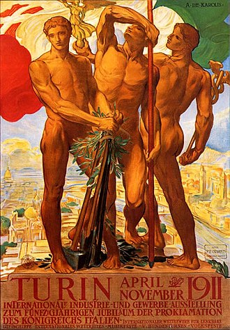Turin International - Turin 1911 Expo poster designed  by Adolfo de Carolis
