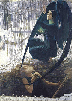 La mort du fossoyeur (Death of the grave-digger) by Carlos Schwabe is a visual compendium of Symbolist motifs.