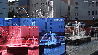 1080p - TV standards through 1080p. The red-tinted image shows 576i or 576p resolution. The blue-tinted image shows 720p resolution, an HDTV level of resolution. The full-color image shows 1080p resolution.