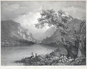 Delbadern i.e Dolbadarn Castle, Llanberris i.e Llanberis lake, north Wales