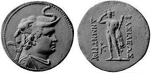 Silver coin depicting Demetrius I of Bactria (200-180 BC) wearing an elephant scalp, symbol of his conquest of India, and reverse Herakles, holding a lion skin and a club