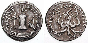 A denarius of Sextus Pompeius, minted for his victory over Octavian's fleet. On the obverse the Pharus of Messina, on the reverse monster Scylla, who defeated Octavian.