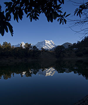 Chaukhamba - Chaukhamba peak as seen from Deoria Tal/Lake in Chandrashila peak