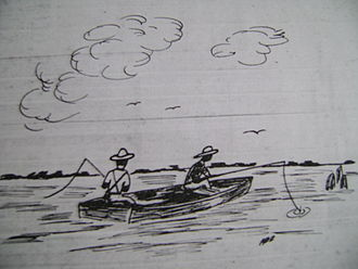 Hot and Hot Fish Club - Depiction of Robert Francis Withers Allston fishing with John H. Tucker