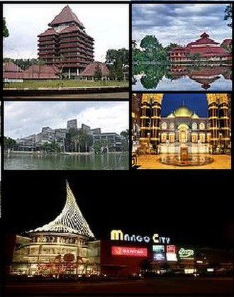 Depok - (From top, left to right): University of Indonesia, Ukhuwah Islamiyah Mosque, Dian Al-Mahri Mosque and Margo City