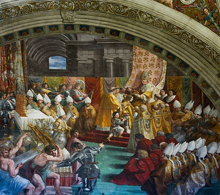 Detail view on an illustration by Raphael portraying the crowning of Charlemagne in Old Saint Peter's Basilica, on 25 December 800 Detail coronation Charles the Great (Francis 1st of France) by Pope Leo III (Leo X) Vatican 11.jpg