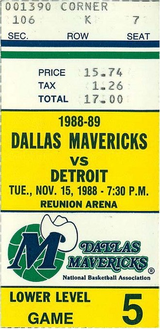 1988–89 NBA season - A ticket for a November 1988 game between the Dallas Mavericks and the season's eventual champions Detroit Pistons.