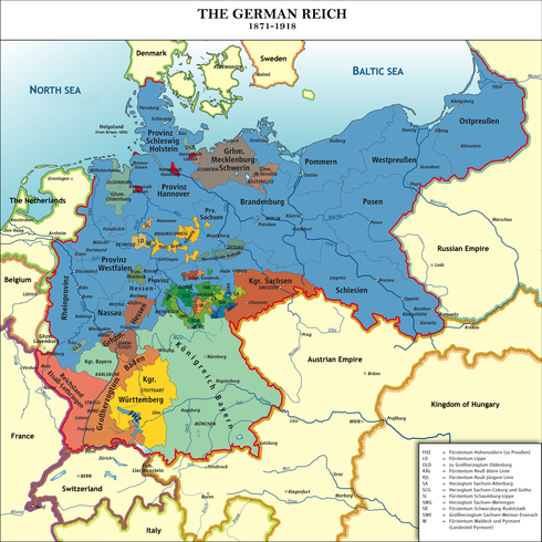 Political map of central Europe showing dozens of states that were unified into Germany. Prussia in the northeast is by far the largest, occupying about 40% of the unified area.