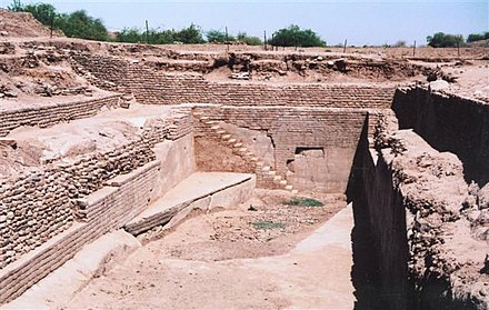 Dholavira Sophisticated Water Reservoir, evidence for hydraulic sewage systems in the ancient Indus Valley Civilization. Dholavira1.JPG