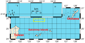 Senkaku Islands - Location of the islands (yellow rectangle and inset).