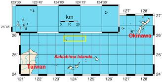 Senkaku Islands - Location of the islands (yellow rectangle and inset).