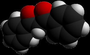 Dibenzoylmethane - Image: Dibenzoylmethane 3D vd W by AHRLS 2012
