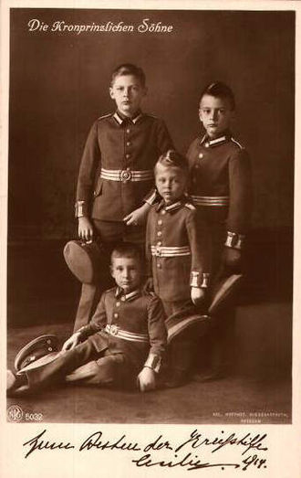 Prince Wilhelm of Prussia (1906–1940) - Prince Wilhelm in 1914, with his younger brothers, Louis Ferdinand, Hubertus and Friedrich. The boys are dressed in the uniform of the Prussian army.
