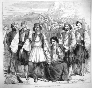 Dilessi murders - The brigands responsible for the murders are brought to Athens for trial, from The Illustrated London News