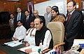 Dinesh Trivedi giving the finishing touches to the Railway Budget 2012-13, in New Delhi. The Ministers of State for Railways, Shri Bharatsinh Solanki and Shri K. H. Muniyappa, Chairman, Railway Board (1).jpg