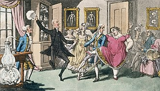 Nitrous oxide - Aquatint depiction of a laughing gas party in the nineteenth century