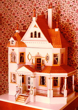Exterior of a hand-built American dollhouse