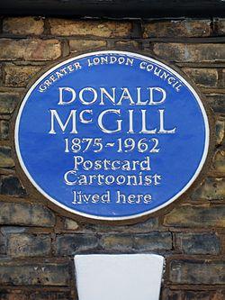 Donald mcgill 1875 1962 postcard cartoonist lived here