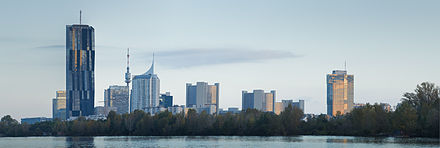 Many international organisations and offices are located in Donaustadt. Donaucity from Danube River to Northnorthwest - Vienna-.jpg