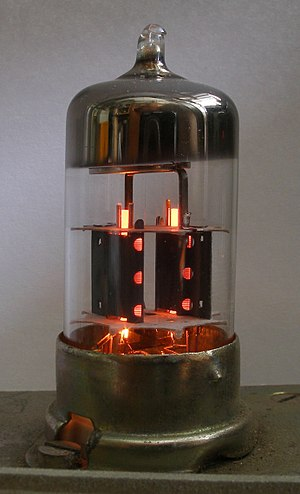 Hot cathode - Two indirectly heated cathodes (orange heater strip) in ECC83 dual triode tube