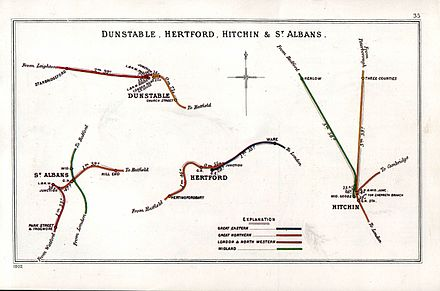A 1902 Railway Clearing House map of railways in the vicinity of Three Counties (upper right) Dunstable, Hertford, Hitchin & St Albans RJD 35.jpg