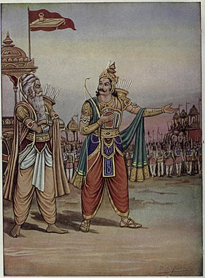 Dronacharya Award - Dronacharya (left) with Duryodhana (right) showing his army during Kurukshetra War.