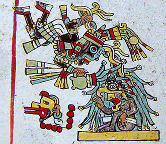 San Juan Achiutla - The god Dzahui consecrate a Mixtec ruler by pouring over him with his jug (Nutall Codex, page 5, back).