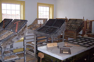 Book of Mormon Historic Publication Site - Cases containing the moveable type used in the printing process