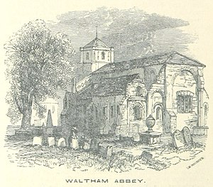 Waltham Abbey Church - Waltham Abbey depicted in 1851, before the rebuilding works