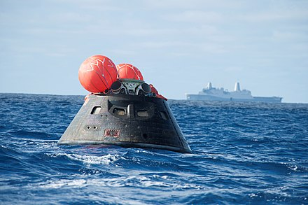 The EFT-1 test flight was conducted in 2014, uncrewed capsule shown EFT-1 Orion recovery.5.jpg