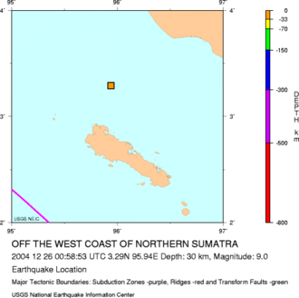 Simeulue Regency - Map showing northwest coast of Sumatra and Simeulue, with the epicenter of the 2004 Indian Ocean earthquake indicated between the two.