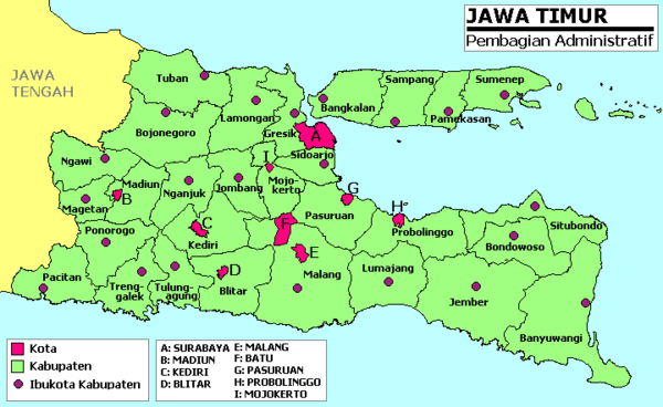Regencies and cities in East Java