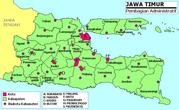 Daftar kabupaten dan kota di Jawa Timur - Wikipedia bahasa ...