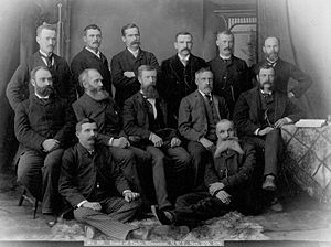 John Cameron (Alberta politician) - Edmonton Board of Trade, 1891. John Cameron is seated in the middle row, third left.