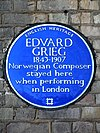 Edvard Grieg 1843-1907 Norwegian Composer stayed here when performing in London.jpg