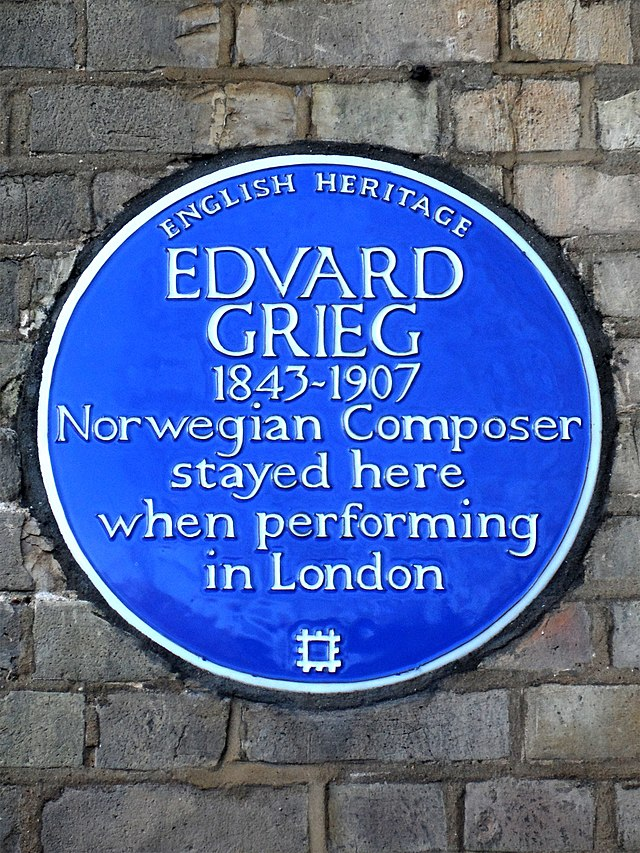 Edvard Grieg blue plaque - Edvard Grieg 1843-1907 Norwegian Composer stayed here when performing in London