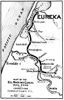 Eel River and Eureka Railroad Map