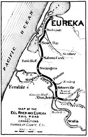 Eel River and Eureka Railroad -  The Eel River and Eureka Railroad map of 1896 showing the line from Eureka to Burnell's station.