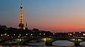 Eiffel Tower sunset, Paris July 2013.jpg