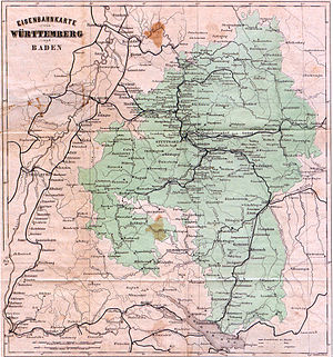 Royal Württemberg State Railways - Railway map of Württemberg as at 1863