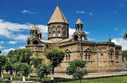 The Etchmiadzin Cathedral, the mother church of the Armenian Apostolic Church, was established in 301 AD. Ejmiadzin Cathedral2.jpg