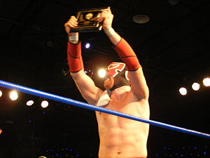 2300 Arena - El Generico after winning the Chikara Rey de Voladores tournament at the venue in April 2011.