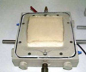 Filter cake of xanthan on filter plate