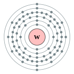 Electron shells of tungsten (2, 8, 18, 32, 12, 2)