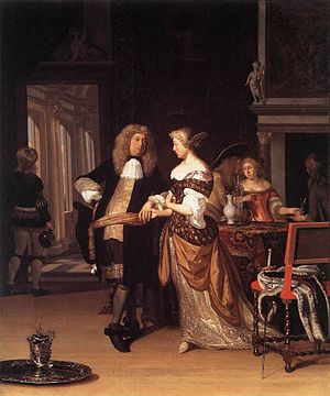 Eglon van der Neer - Elegant couple in an interior, 1678