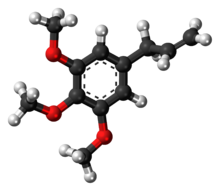 Ball-and-stick model of the elemicin molecule